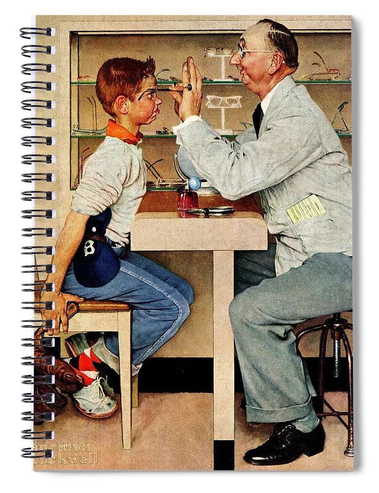 Boys Spiral Notebook featuring the drawing At The Optometrist by Norman Rockwell