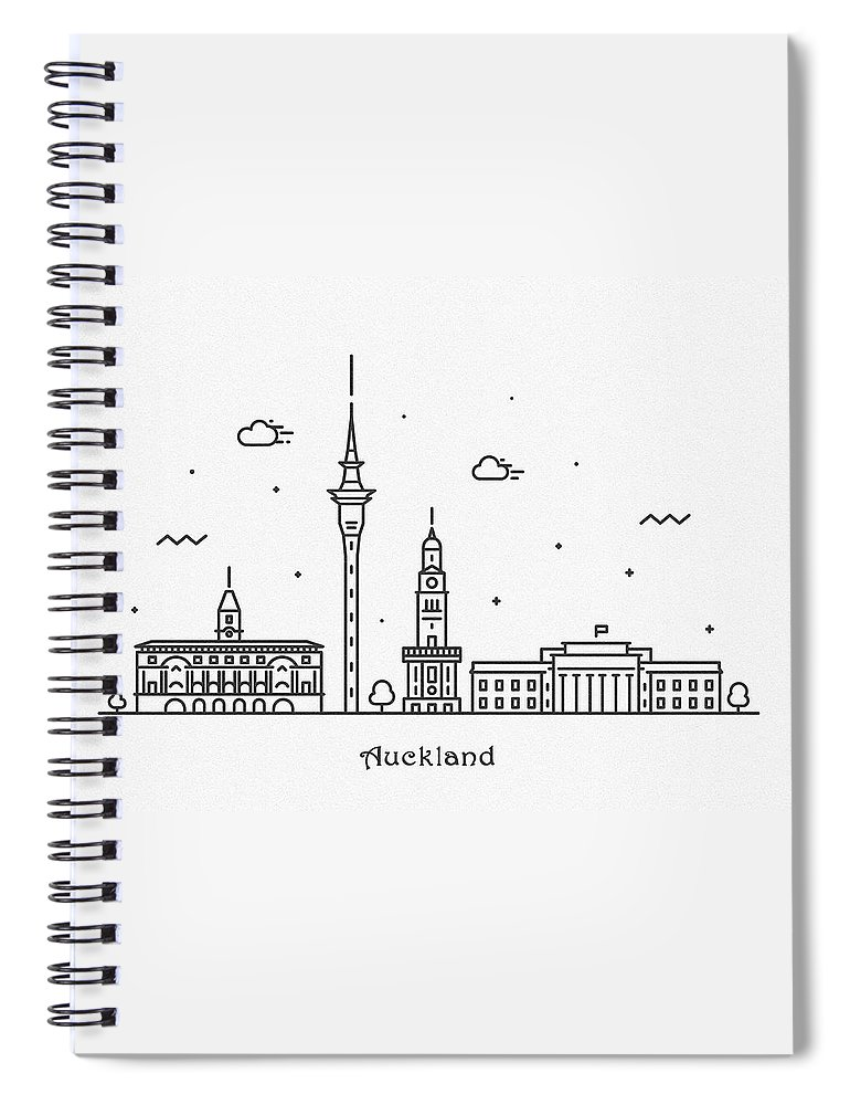Auckland Spiral Notebook featuring the drawing Auckland Cityscape Travel Poster by Inspirowl Design