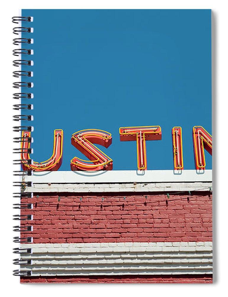 Sunlight Spiral Notebook featuring the photograph Austin Neon Sign by Austinartist