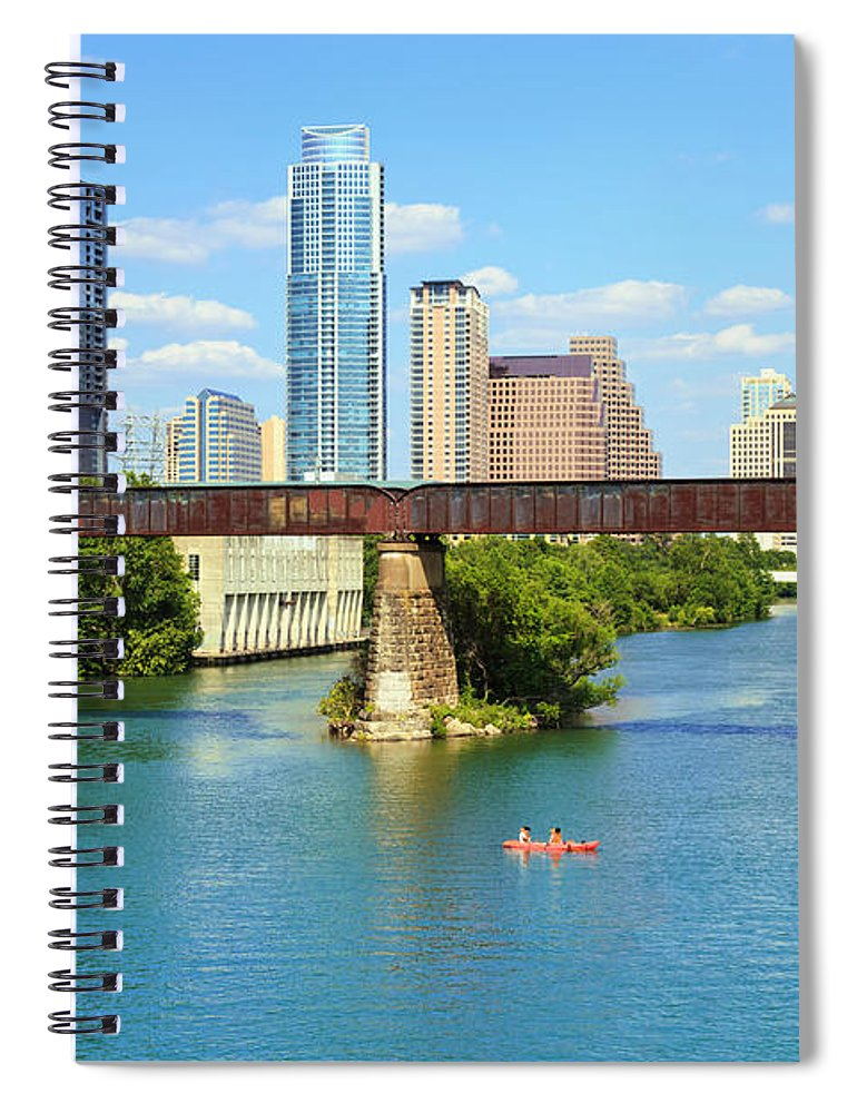 Scenics Spiral Notebook featuring the photograph Austin Texas Skyline, Colorado River by Dszc