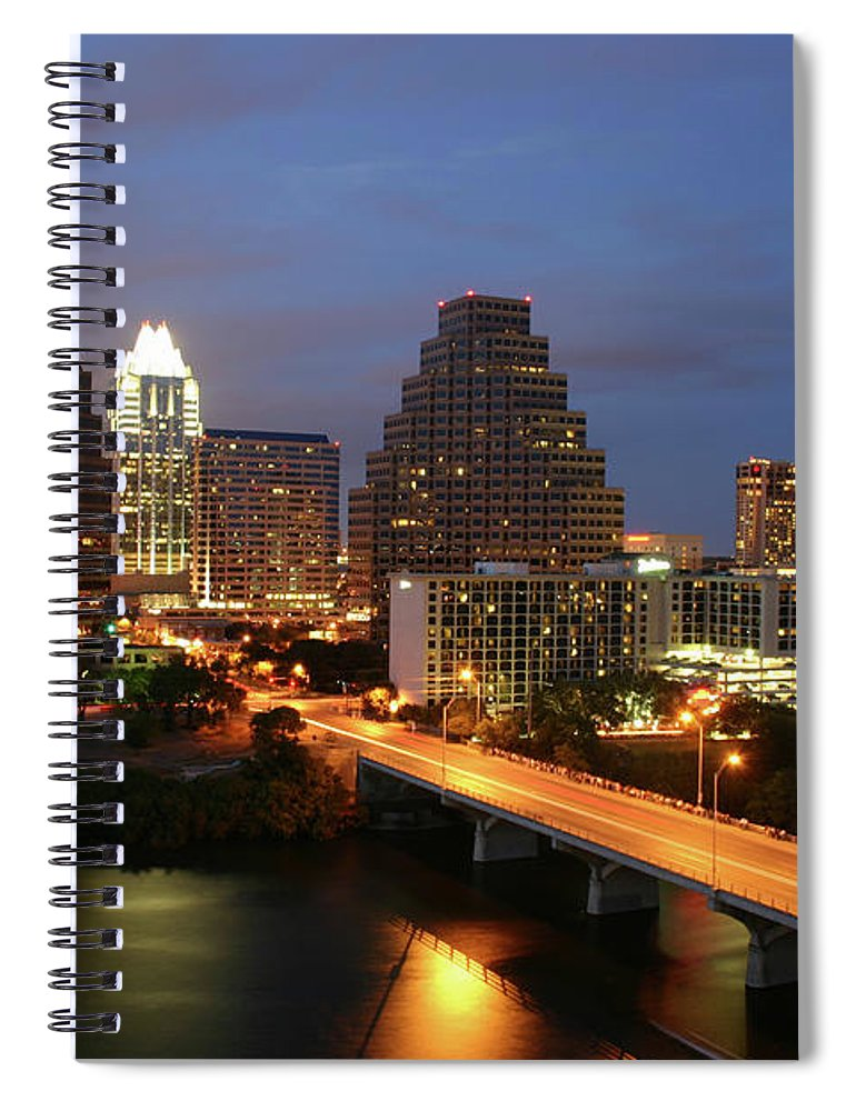 Water's Edge Spiral Notebook featuring the photograph Austin Texas Skyline - Unique by Xjben