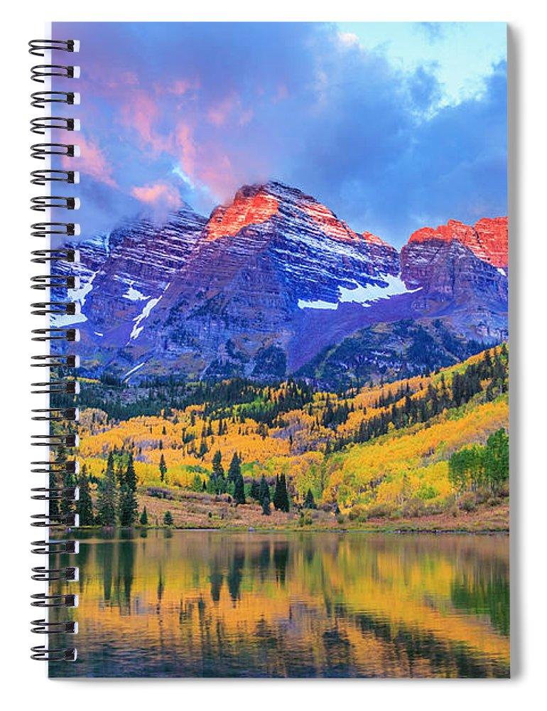 Scenics Spiral Notebook featuring the photograph Autumn Colors At Maroon Bells And Lake by Dszc