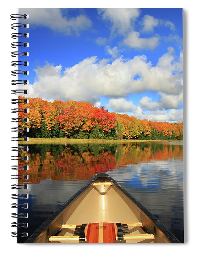 Scenics Spiral Notebook featuring the photograph Autumn In A Canoe by Photos By Michael Crowley