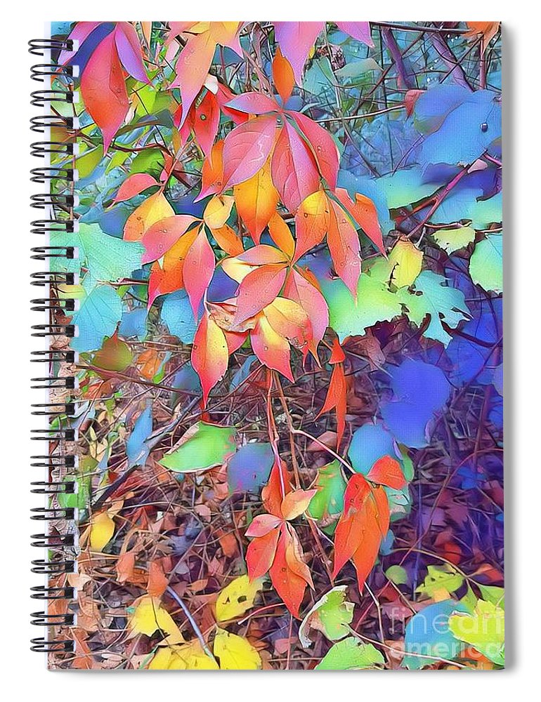 Autumn Spiral Notebook featuring the digital art Autumn Leaves by Paola Baroni