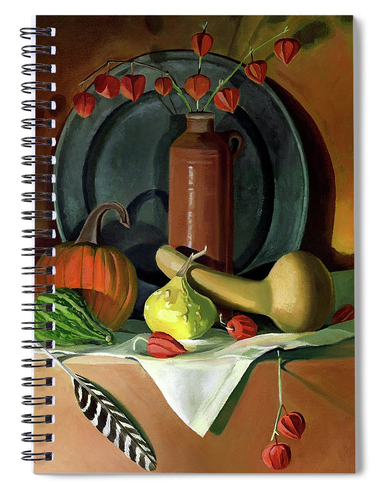 Still Life Spiral Notebook featuring the painting Autumn Still Life by Nancy Griswold