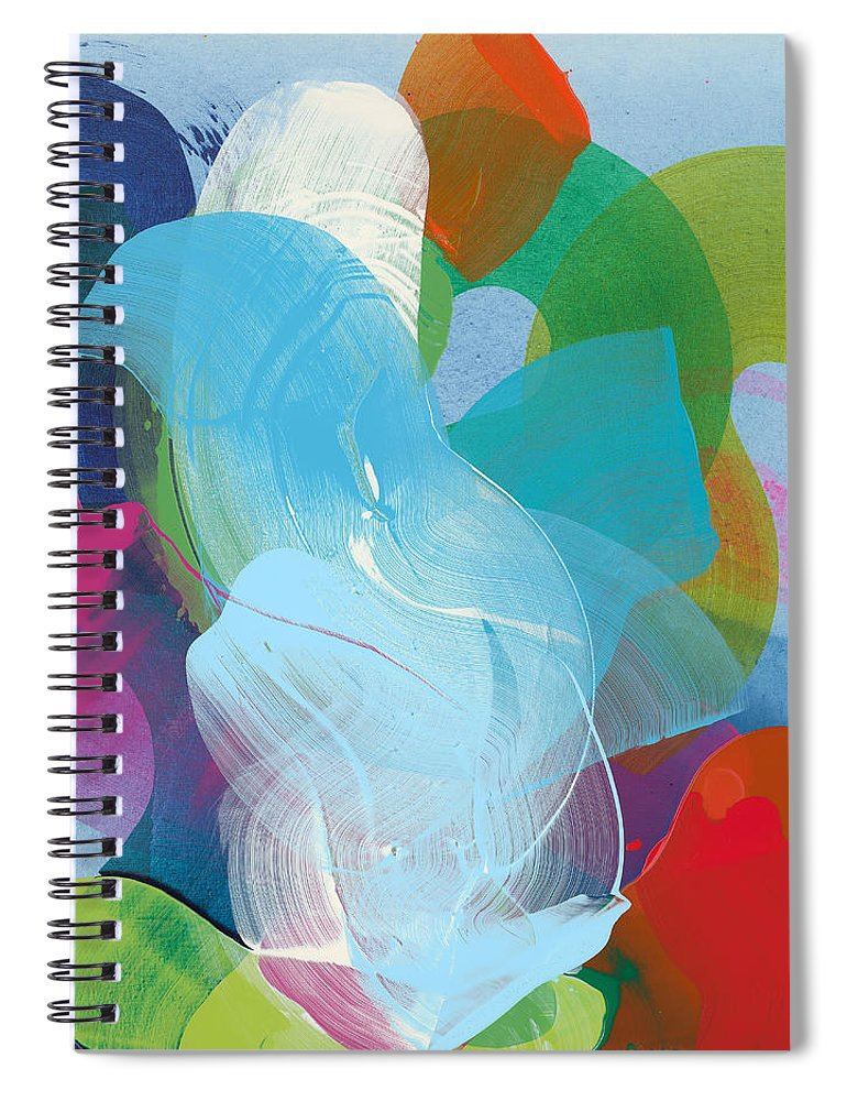 Abstract Spiral Notebook featuring the painting Away A While by Claire Desjardins