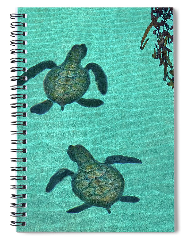 Seaweed Spiral Notebook featuring the photograph Baby Sea Turtles by Melinda Moore