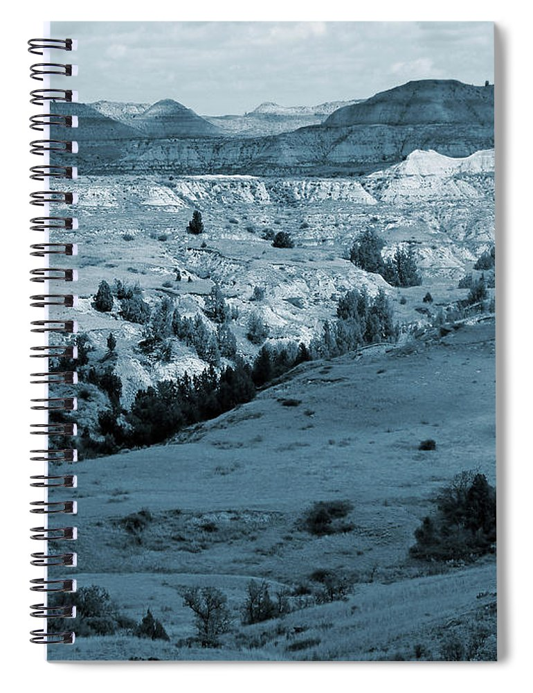 North Dakota Spiral Notebook featuring the photograph Badlands Shadows And Sunlight by Cris Fulton