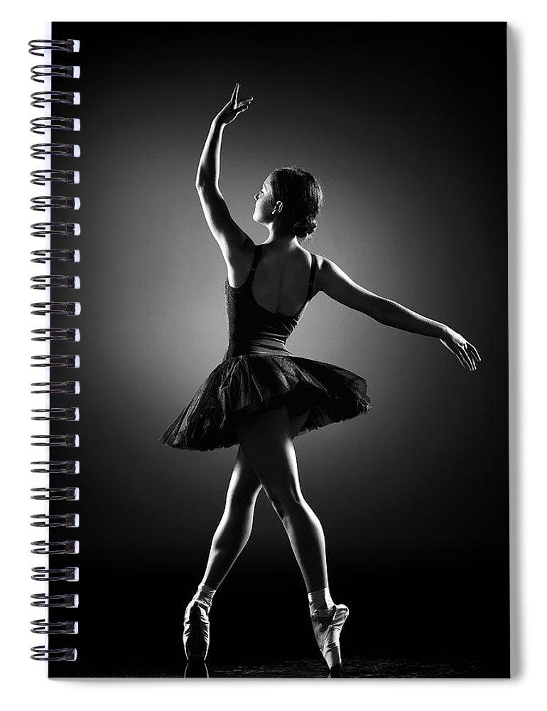 Ballerina Spiral Notebook featuring the photograph Ballerina Dancing by Johan Swanepoel