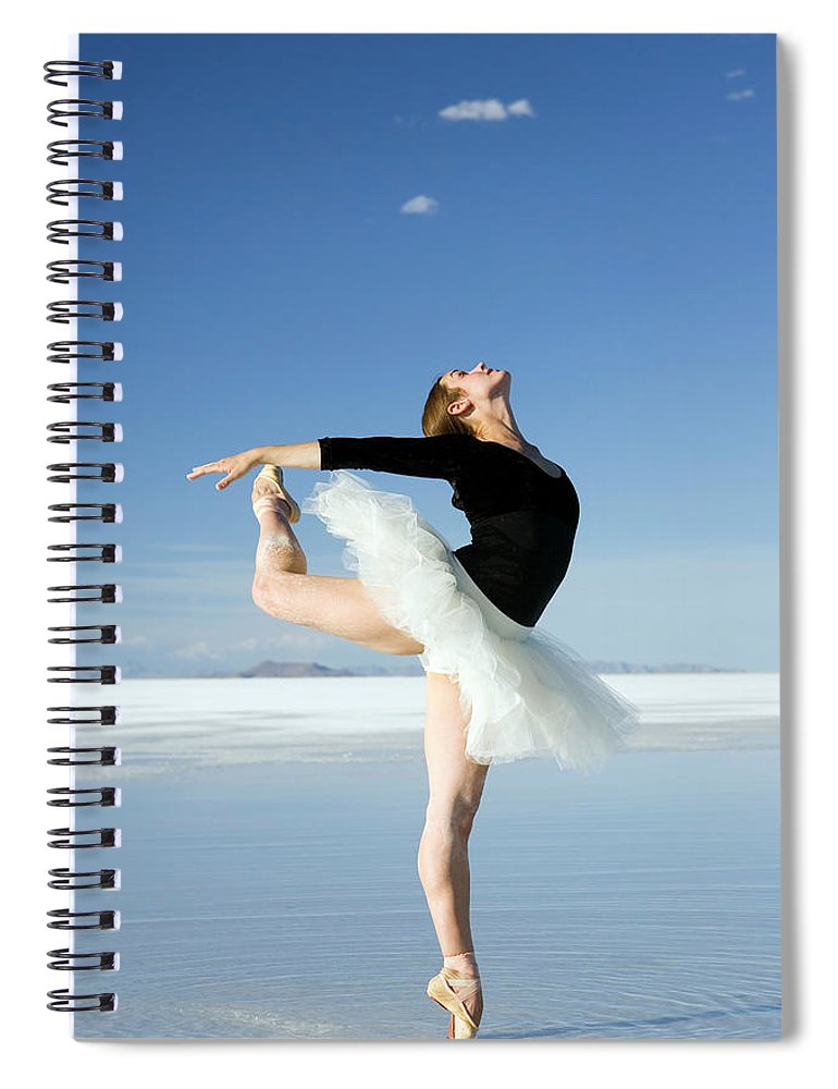 Ballet Dancer Spiral Notebook featuring the photograph Ballerina Tip Toe Pose by Avid creative
