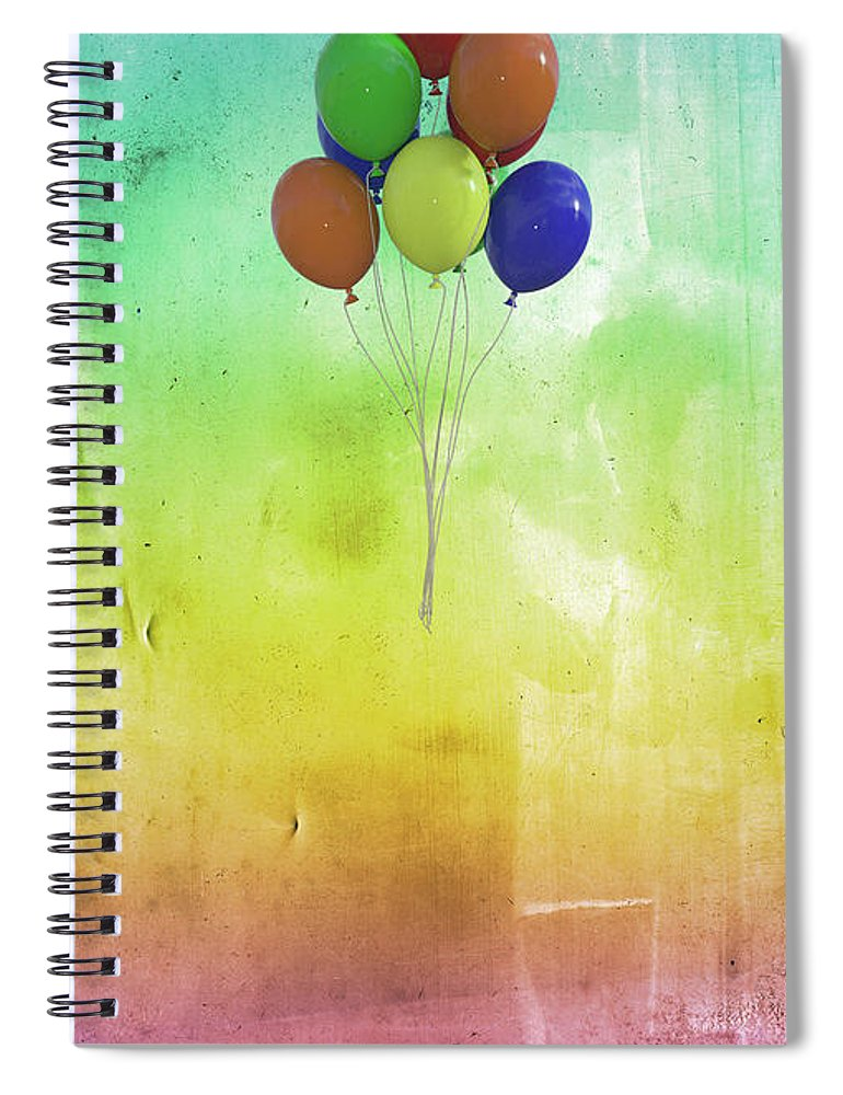 Balloon Spiral Notebook featuring the digital art Balloons by Betsy Knapp