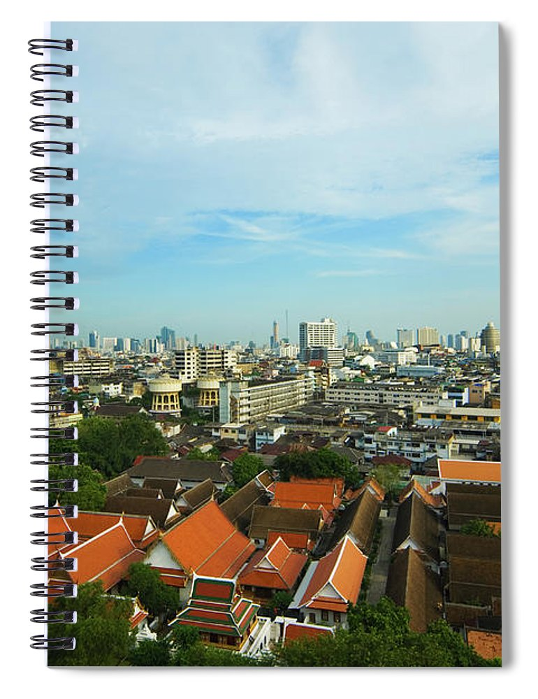 Tropical Tree Spiral Notebook featuring the photograph Bangkok View With Temple Roofs 2 by Sndrk
