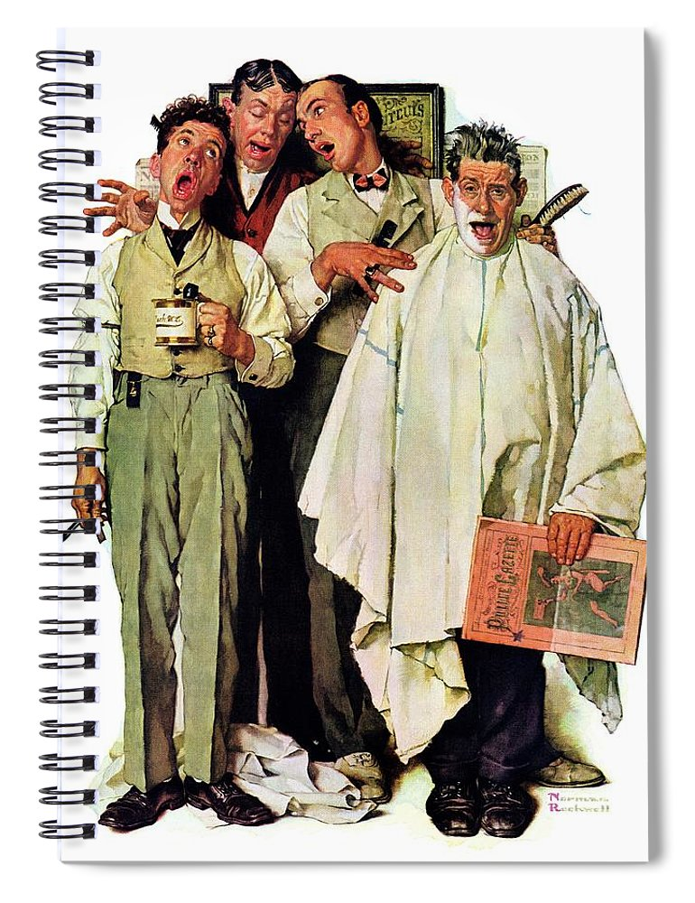 Barbers Spiral Notebook featuring the drawing Barbershop Quartet by Norman Rockwell