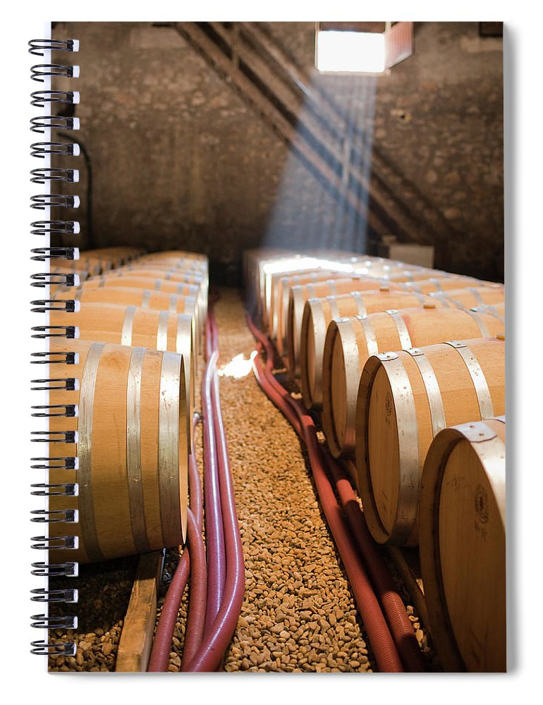 Alcohol Spiral Notebook featuring the photograph Barrels In Wine Cellar by Johner Images