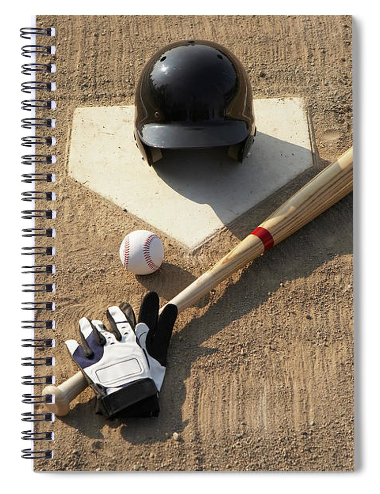 Shadow Spiral Notebook featuring the photograph Baseball, Bat, Batting Gloves And by Thomas Northcut