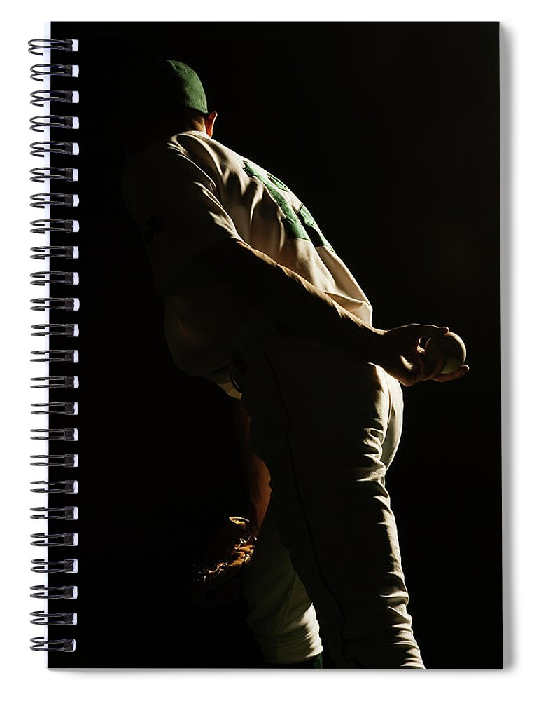 Three Quarter Length Spiral Notebook featuring the photograph Baseball Pitcher Holding Ball Behind by Pm Images