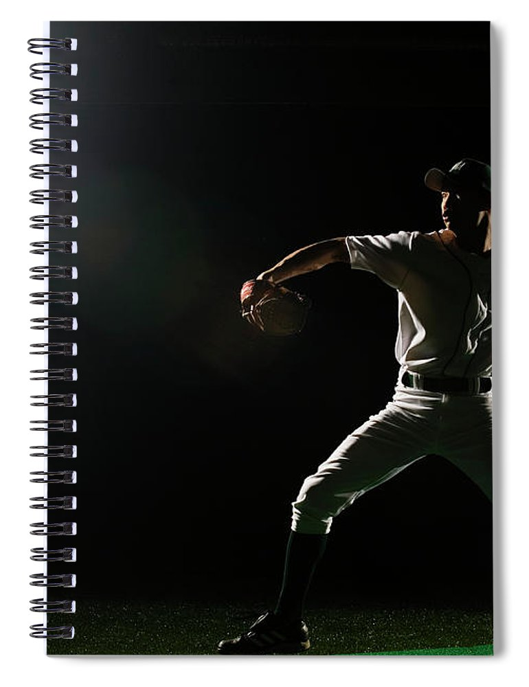 Human Arm Spiral Notebook featuring the photograph Baseball Pitcher Releasing Ball by Pm Images
