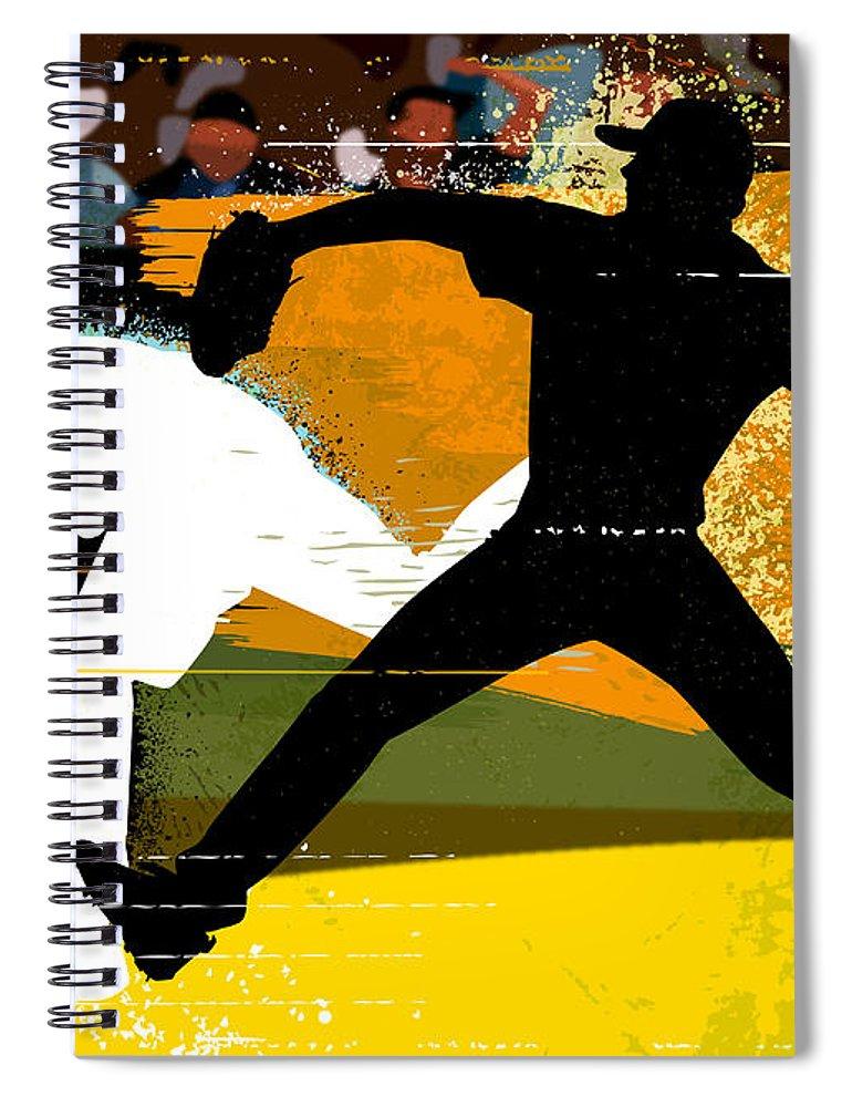 Baseball Cap Spiral Notebook featuring the digital art Baseball Pitcher Throwing Baseball by Greg Paprocki