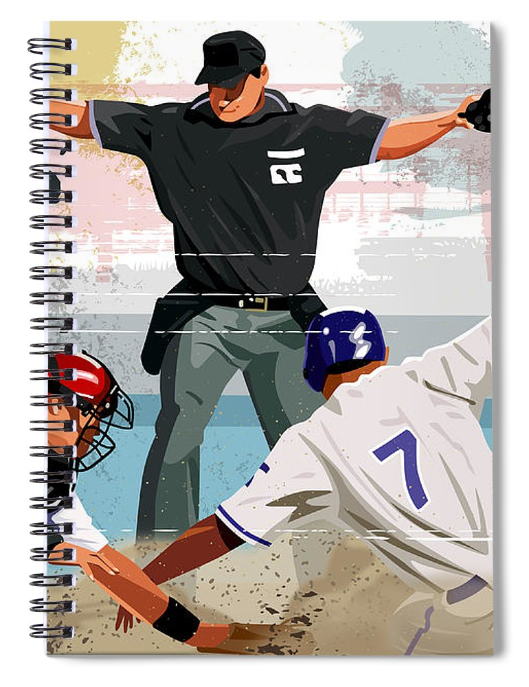 Helmet Spiral Notebook featuring the digital art Baseball Player Safe At Home Plate by Greg Paprocki