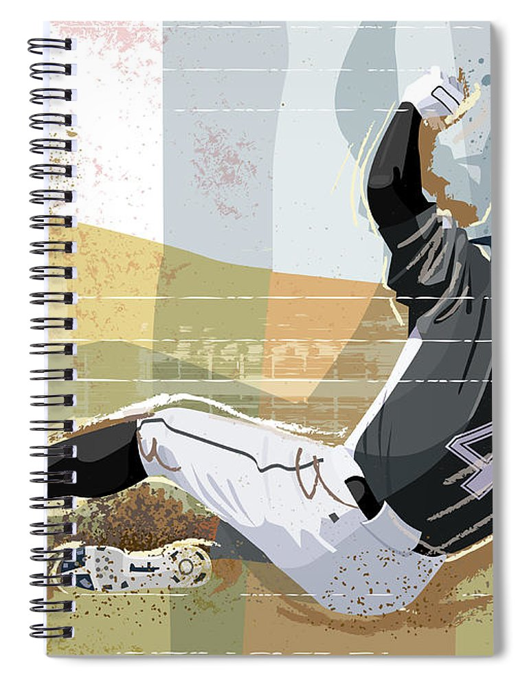 Sports Helmet Spiral Notebook featuring the digital art Baseball Player Sliding Into Base by Greg Paprocki