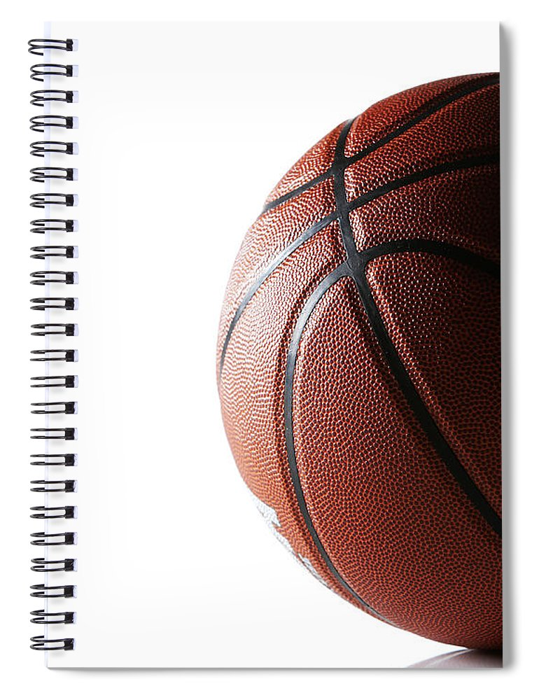 Recreational Pursuit Spiral Notebook featuring the photograph Basketball On White Background by Thomas Northcut
