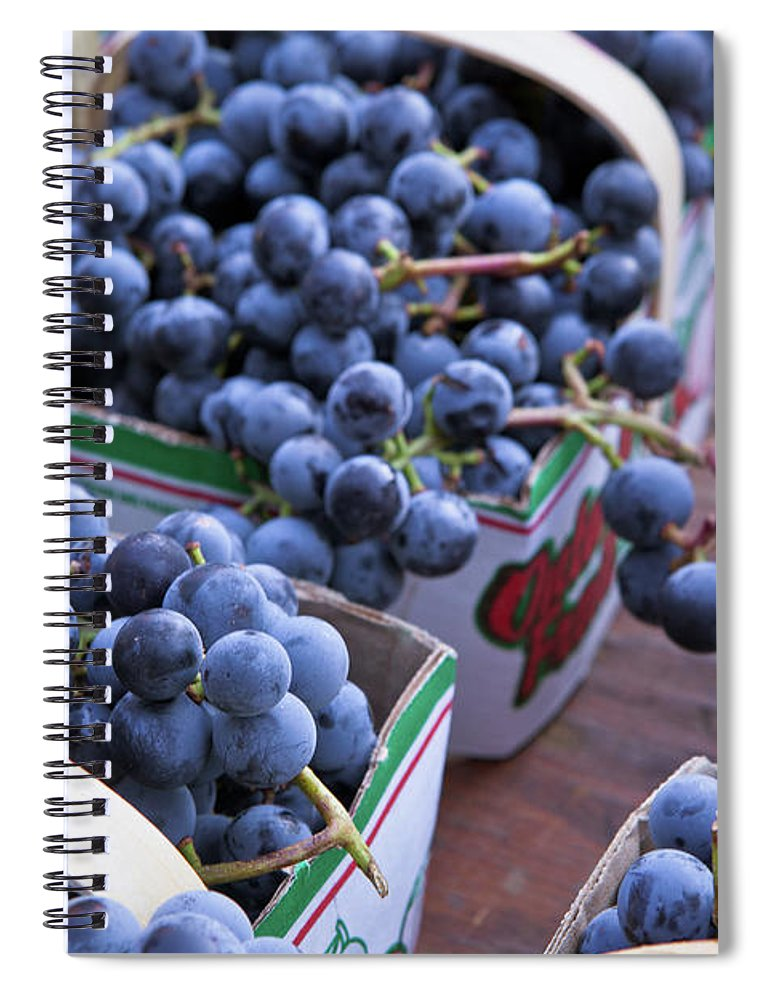 Toronto Spiral Notebook featuring the photograph Baskets Of Grapes by Mary Smyth