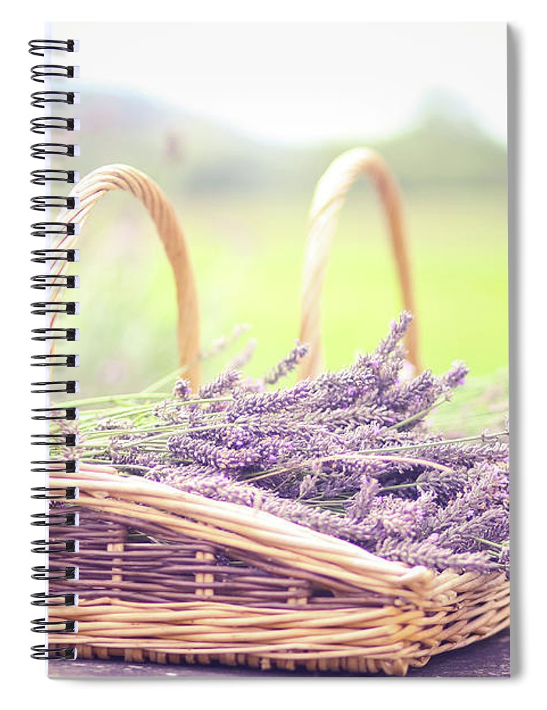 Dorset Spiral Notebook featuring the photograph Baskets Of Lavender by Sasha Bell
