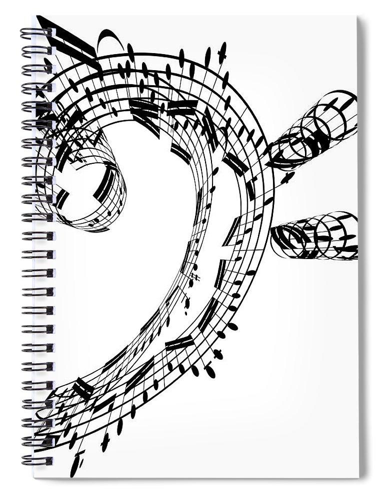 Sheet Music Spiral Notebook featuring the digital art Bass Clef Made Of Music Notes by Ian Mckinnell
