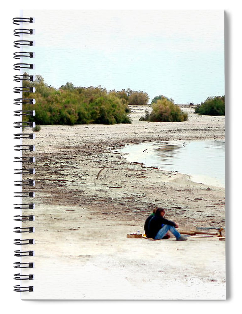 Watercolor Spiral Notebook featuring the photograph Beach Goers-The Salton Sea in Digital Watercolor by Colleen Cornelius