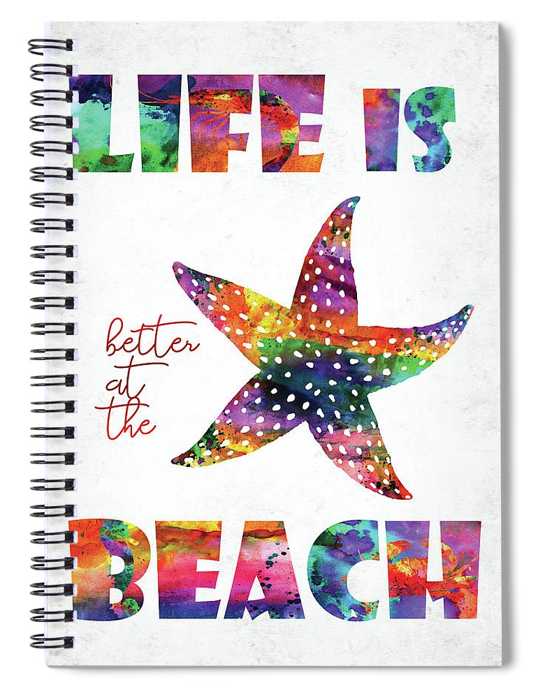 Quote Spiral Notebook featuring the digital art Beach Quote by Mihaela Pater