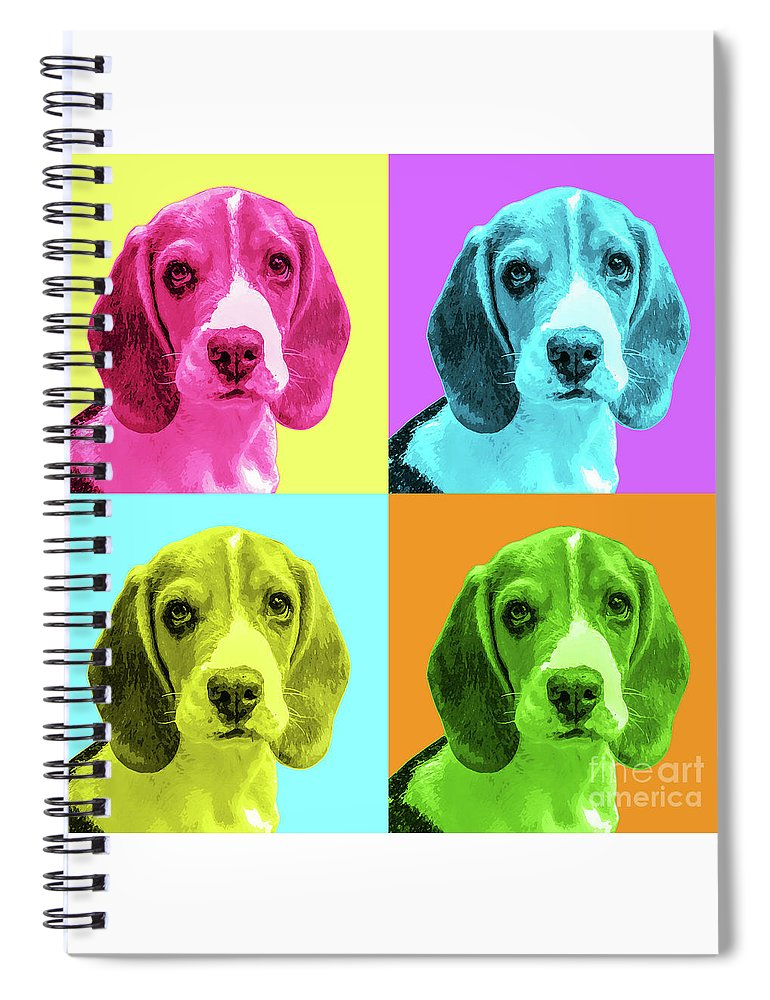 Dog Spiral Notebook featuring the photograph Beagle Pop Art by Delphimages Photo Creations