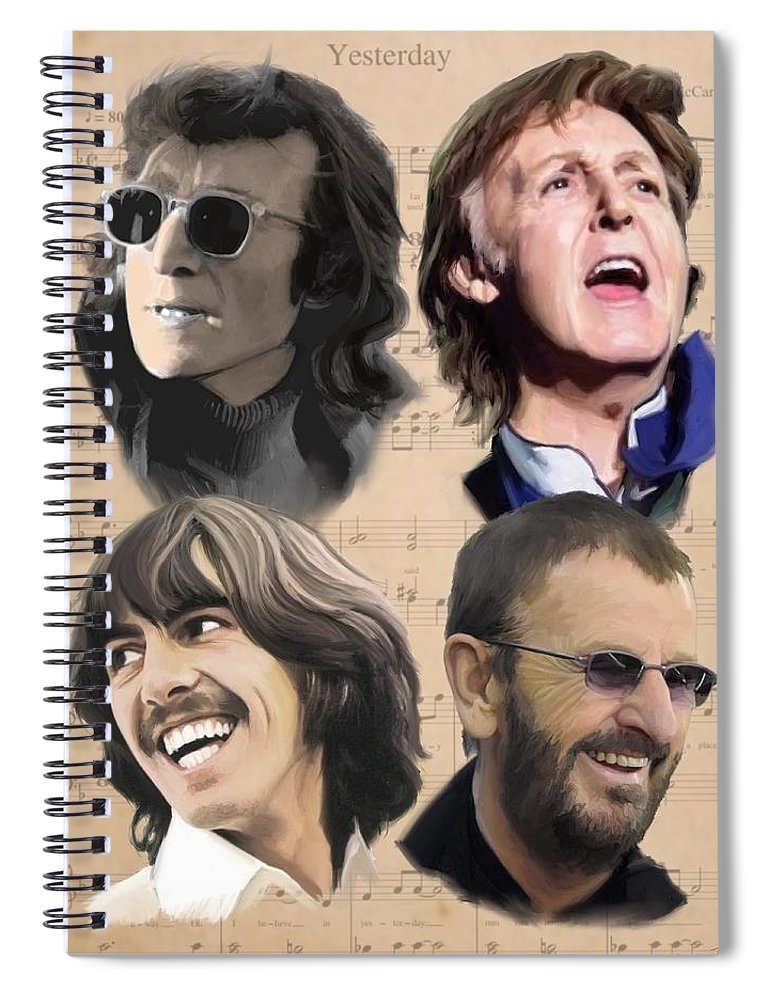 Beatles Spiral Notebook featuring the painting Beatles Yesterday by Paul Tag