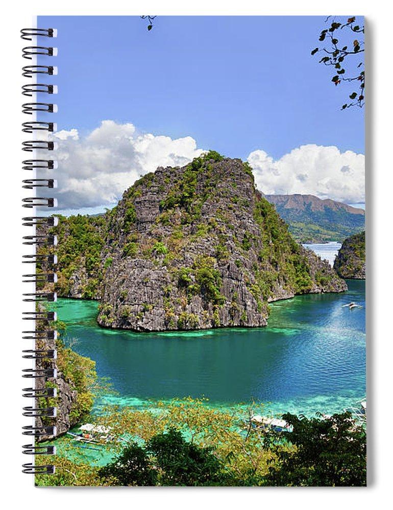 Scenics Spiral Notebook featuring the photograph Beautiful Blue Lagoon At Kayangan Lake by Fototrav