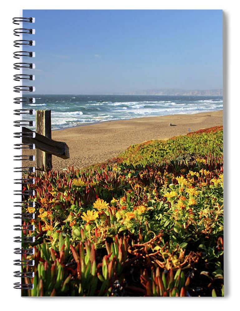Water's Edge Spiral Notebook featuring the photograph Beautiful California Beach Scene And by Ejs9
