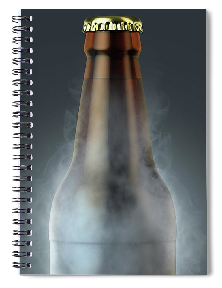 Beer Spiral Notebook featuring the digital art Beer Bottle With Condensation by Allan Swart