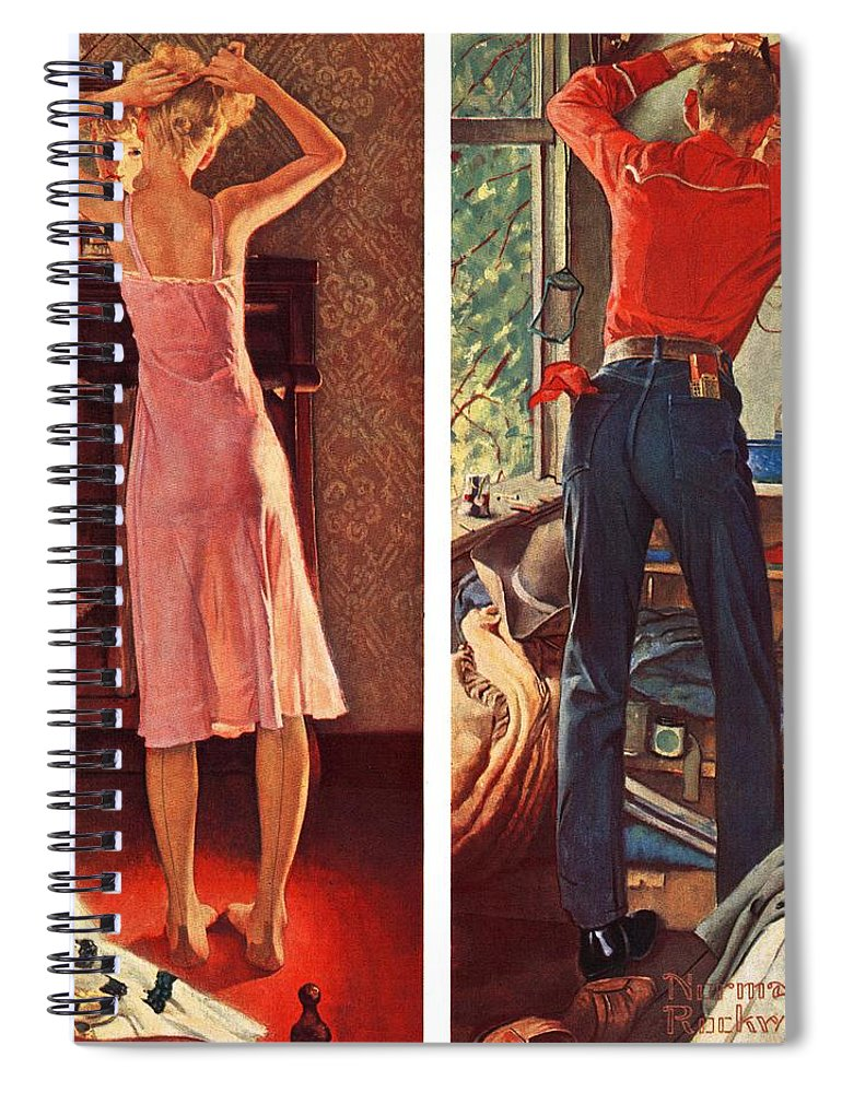 Cowboy Spiral Notebook featuring the drawing Before The Date by Norman Rockwell