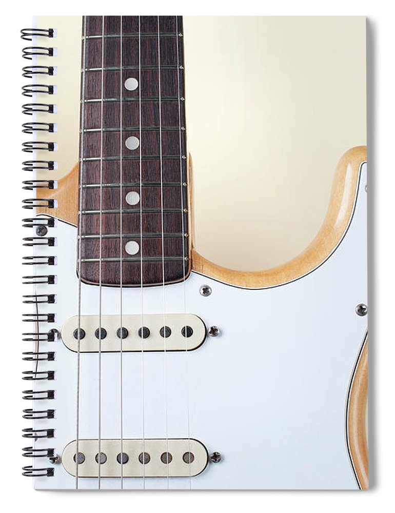 Rock Music Spiral Notebook featuring the photograph Beige Wood Textured Electric Guitar by Neyya