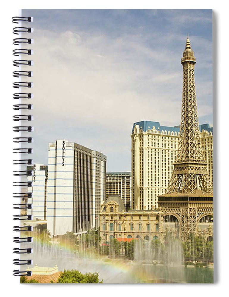 Las Vegas Replica Eiffel Tower Spiral Notebook featuring the photograph Bellagio Fountains by Davin G Photography