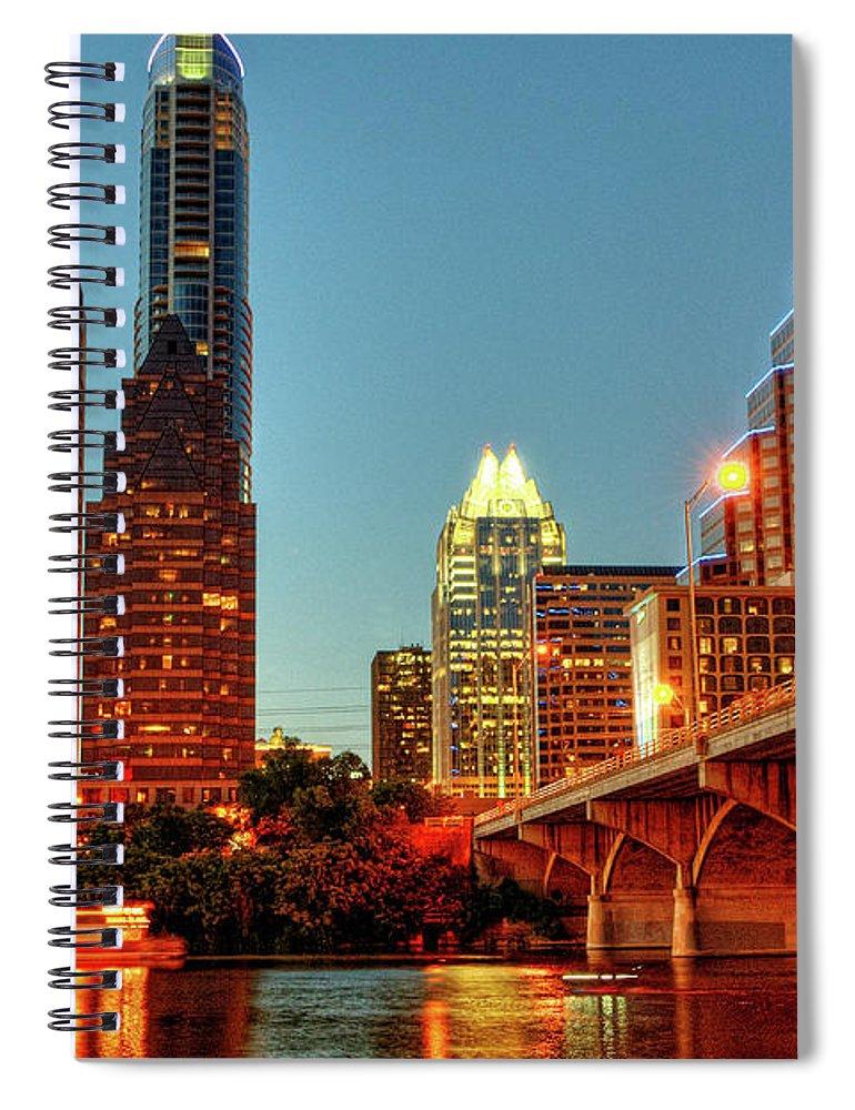 Arch Spiral Notebook featuring the photograph Below Congress Avenue Bridge by David Hensley