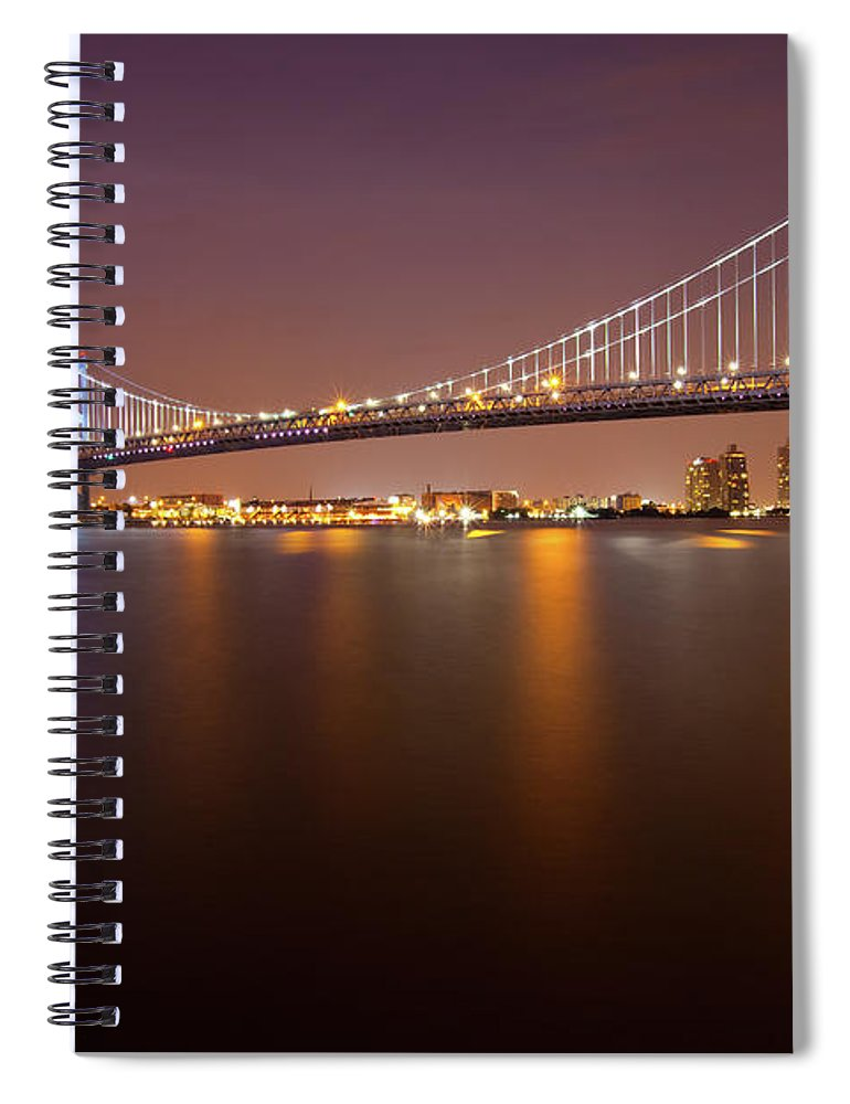 Built Structure Spiral Notebook featuring the photograph Ben Franklin Bridge by Richard Williams Photography