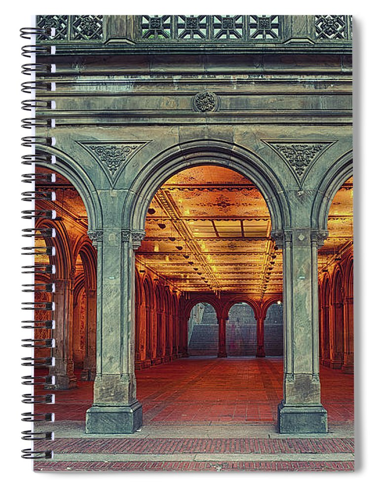 Arch Spiral Notebook featuring the photograph Bethesda Terrace In Central Park - Hdr by Rontech2000