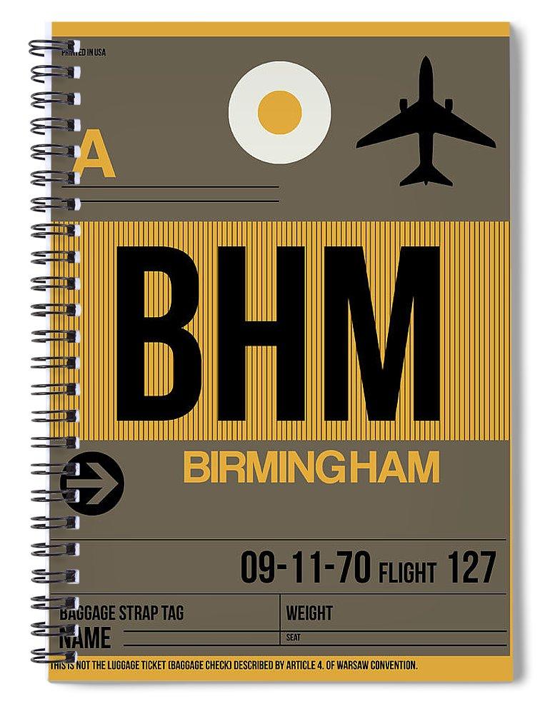 Birmingham Spiral Notebook featuring the digital art Bhm Birmingham Luggage Tag I by Naxart Studio