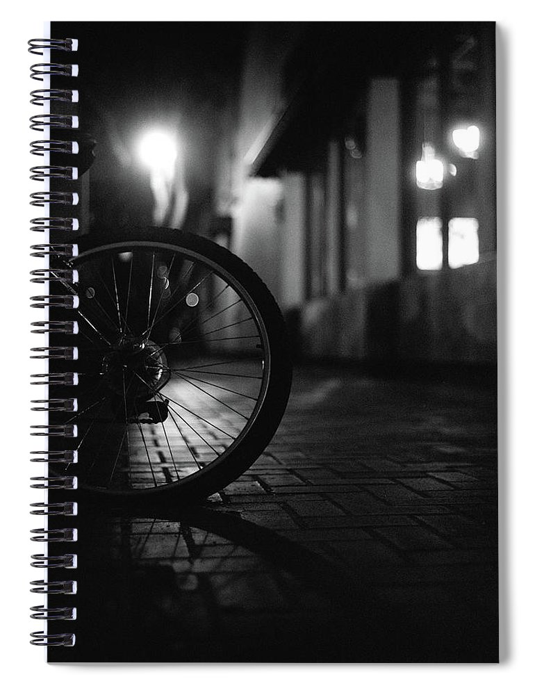 Shadow Spiral Notebook featuring the photograph Bicycle In Dark Street by Satoshi Otani