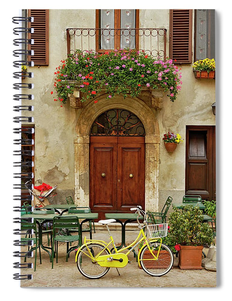 Pienza Spiral Notebook featuring the photograph Bicycle In Front Of Small Cafe, Tuscany by Adam Jones