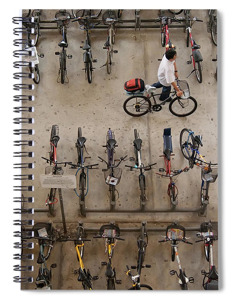 People Spiral Notebook featuring the photograph Bicycle Park At Boon Lay Mrt Station by Kokkai Ng