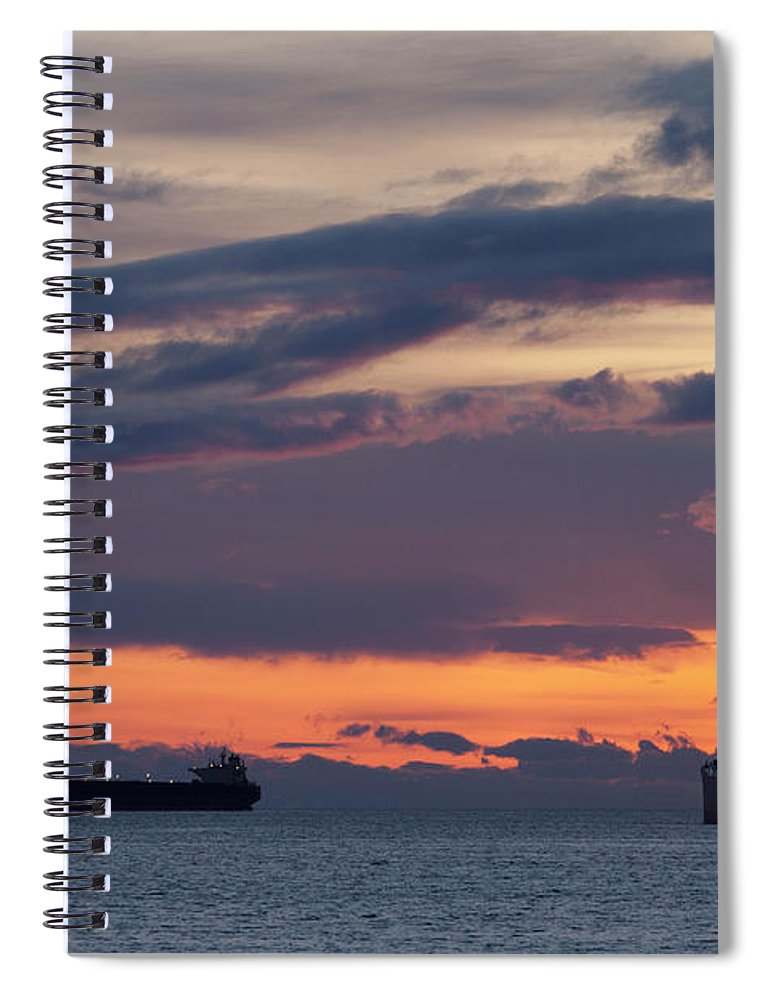 Scenics Spiral Notebook featuring the photograph Big Boat Silhouettes by Visualcommunications