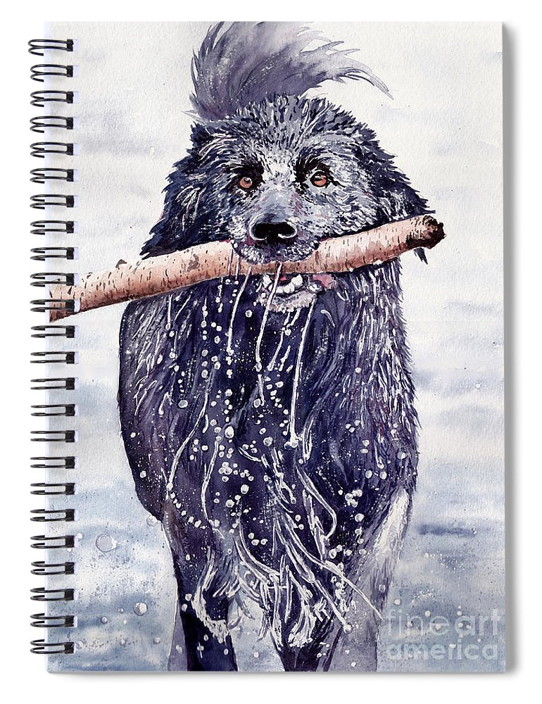 Little Spiral Notebook featuring the painting Bill Out Of The Blue by Suzann Sines