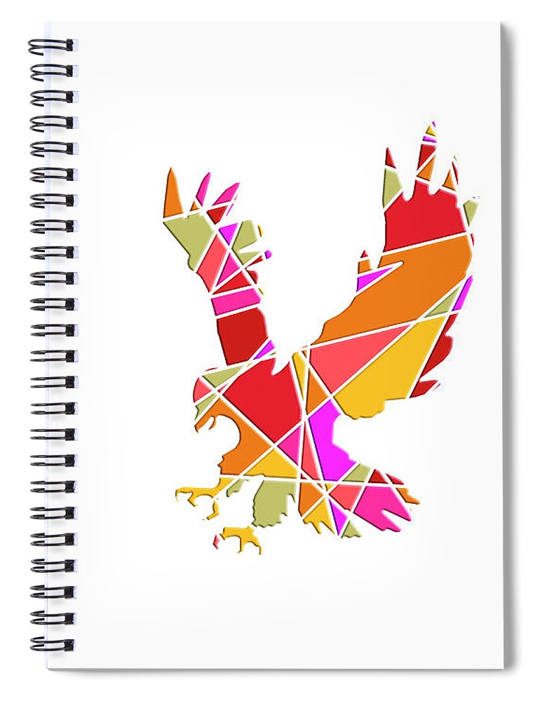 White Background Spiral Notebook featuring the digital art Bird Of Prey by Deb Perry