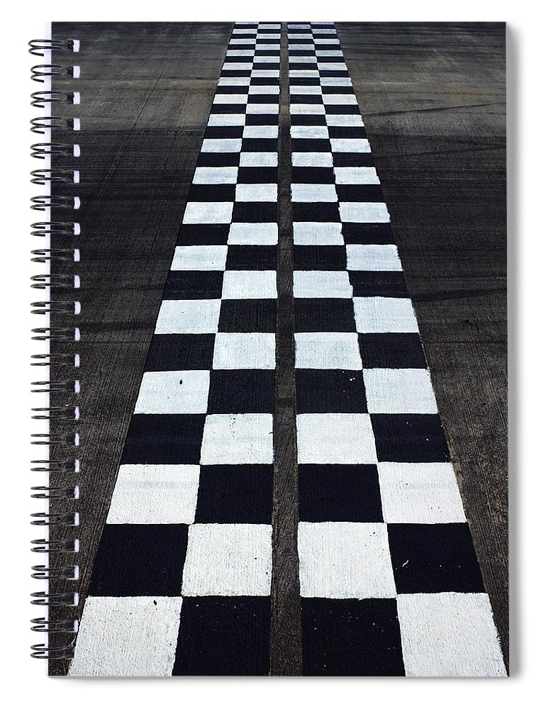 Finish Line Spiral Notebook featuring the photograph Black And White Finish Line by Win-initiative/neleman