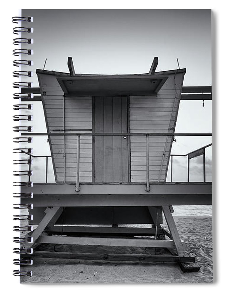 Outdoors Spiral Notebook featuring the photograph Black And White Lifeguard Stand In by Boogich